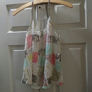 Loved by Anthropologie flowy sequin tank xs